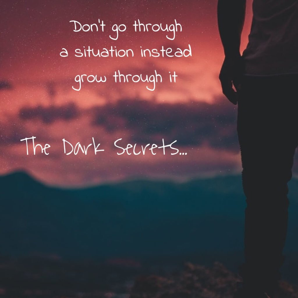 A motivational quote inspiring to grow through a situation instead going through it.